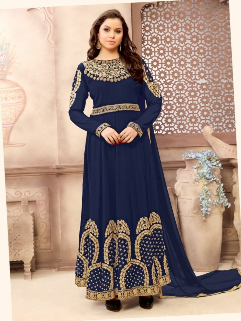 Royal Navy Blue and Gold Saree