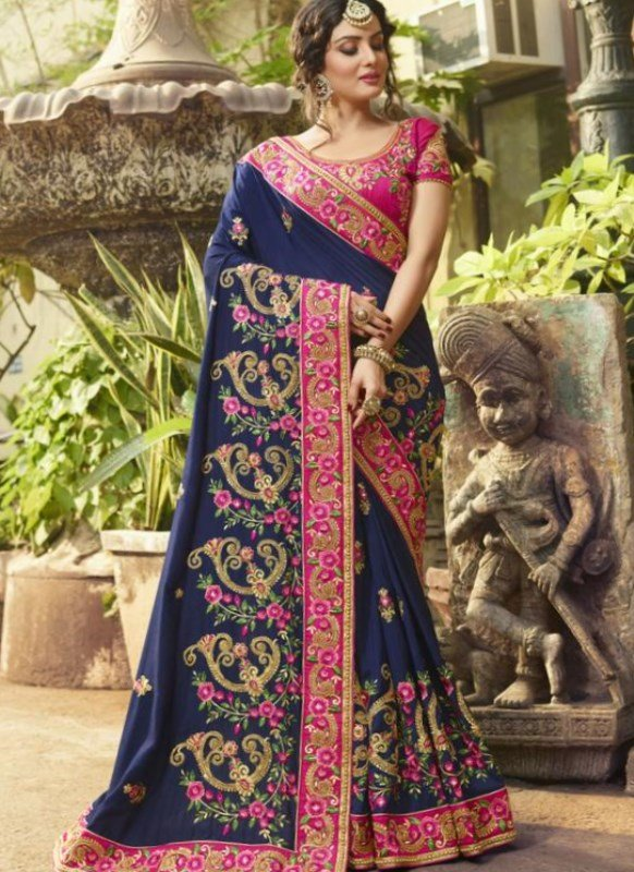 Decorative Navy Blue and Pink Chic Royal Saree