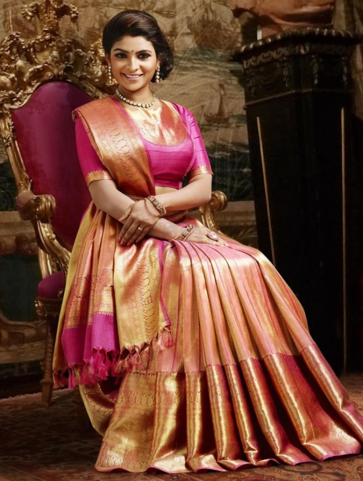 Elegant Pink and Gold Silk Saree