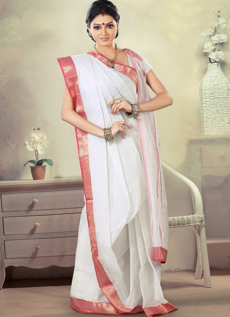 White with red embroidery Indian Saree