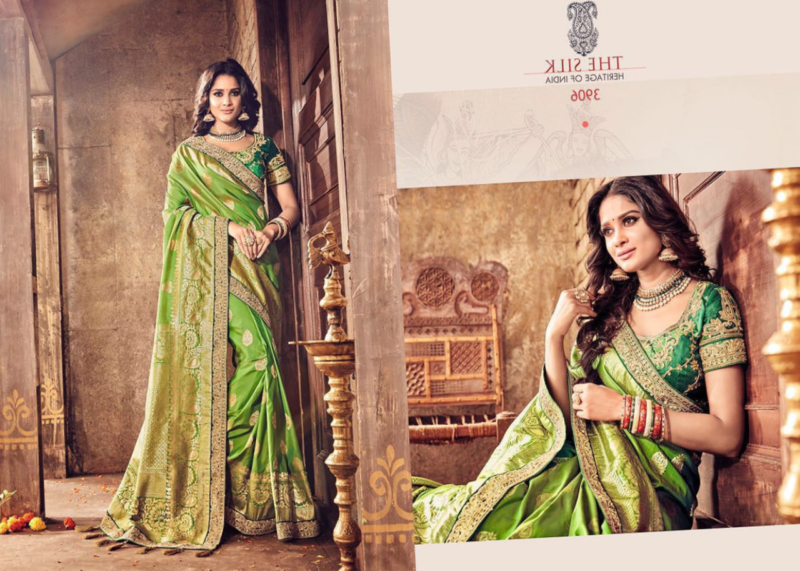 Green and Gold Polka-Dot Saree