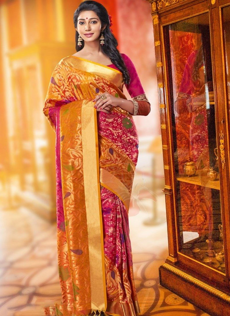 Gold and Pink Shiny Saree