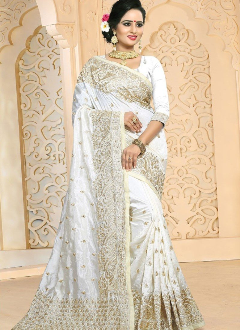 White Indian and Gold Plus Size Saree