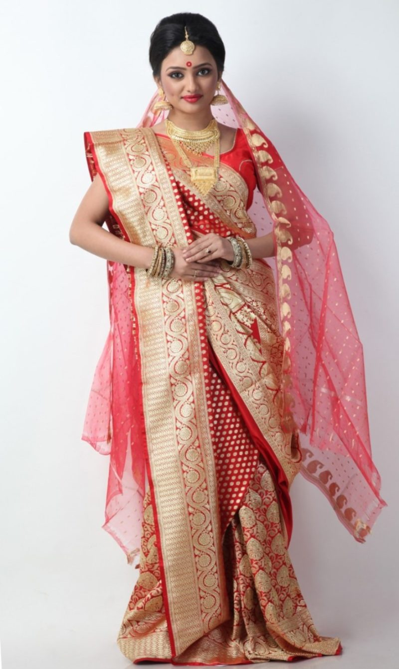 Red and Gold Saree with Red and Gold Veil