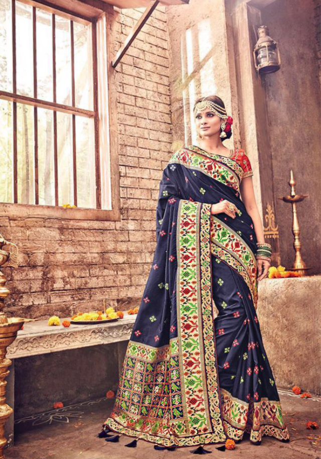 Navy Blue with Gold Embordiery, Green and Red Decorative Saree