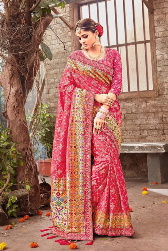 Decorative Dark Pink and Gold Embroidery Saree