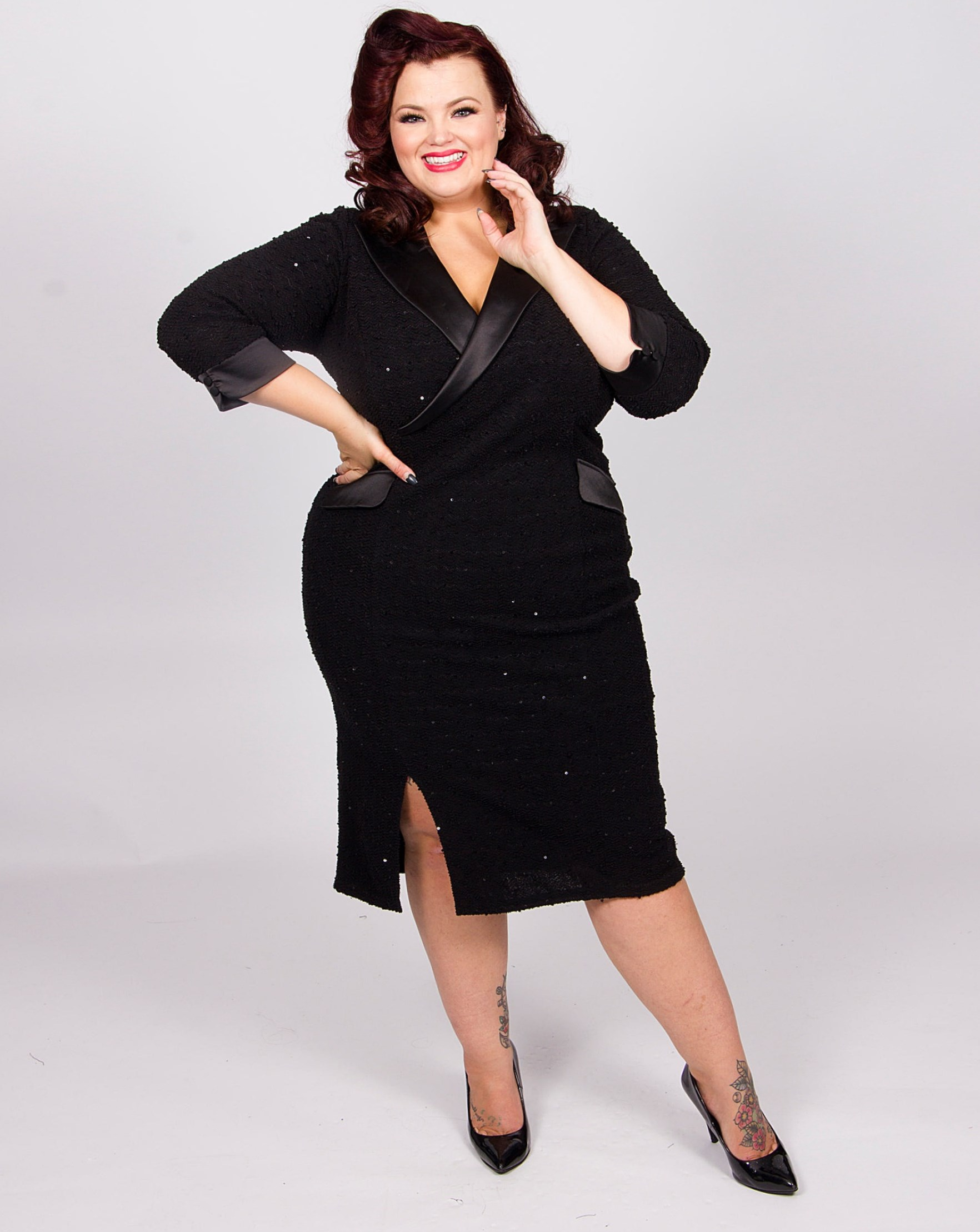 f040cebd940 This sparkly tuxedo dress will make you smile with its shine and smooth  collars. It s great for a plus size woman who isn t afraid to shine at a  party