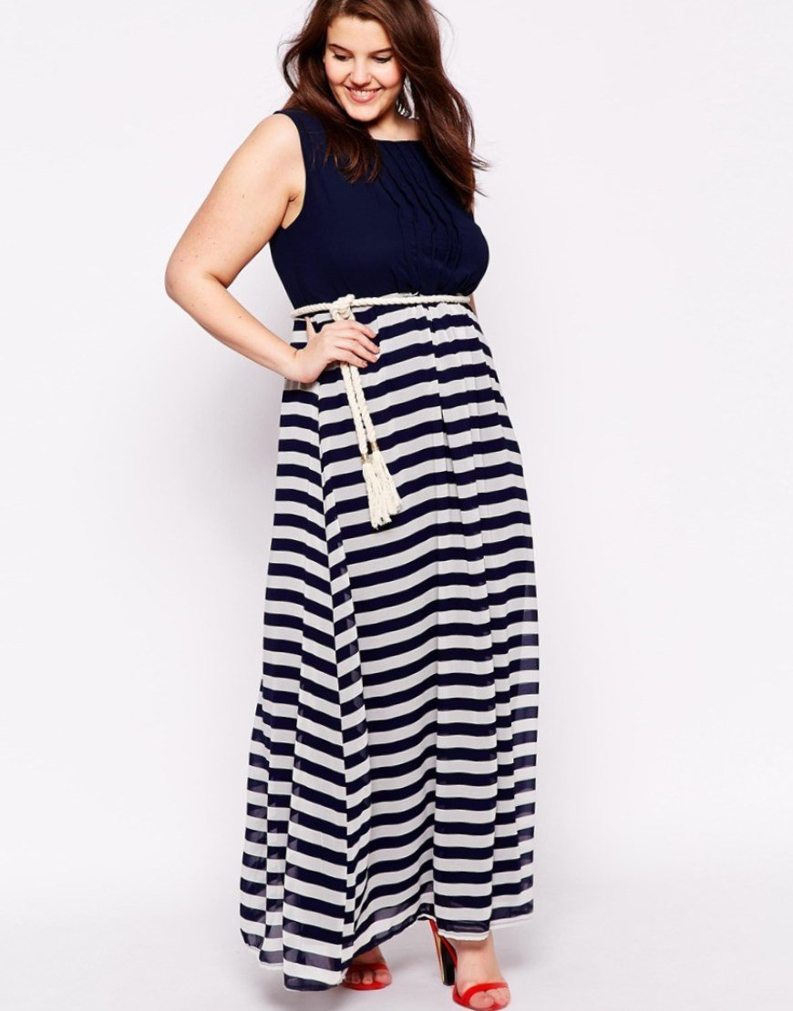 60cb8960eb2 Long beach dresses with a nautical look are in. The pleated front top gives  structure