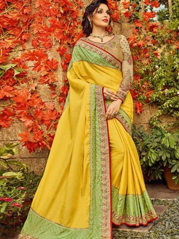 Sunny Yellow and Green Saree