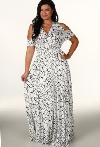 7d23d3e3282 The plus size market for 2019 needs something like this black and white cold  shoulder cut maxi dress with its brick-like pattern. The sleeves have a  unique ...
