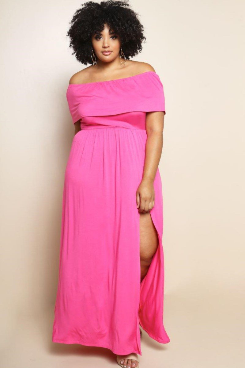 Plus Size Pink Maxi Dress (July 2018) - Latest Trends