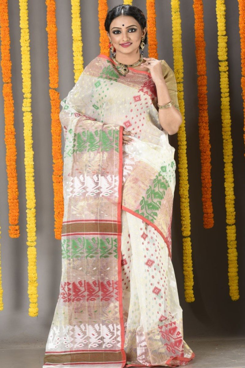 White with Red and Green Decoration Saree