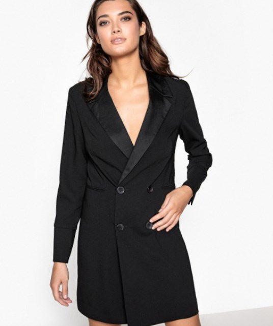 5e98995b56 This tuxedo suit dress is flattering and is wonderful women's style for a  plus size lady It's fairly short, and can be paired with heels to show off  your ...
